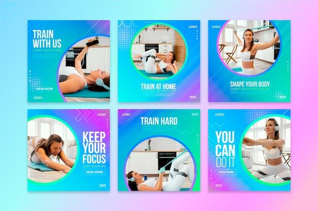 Raccolta di post di instagram di salute e fitness sfumati con foto
