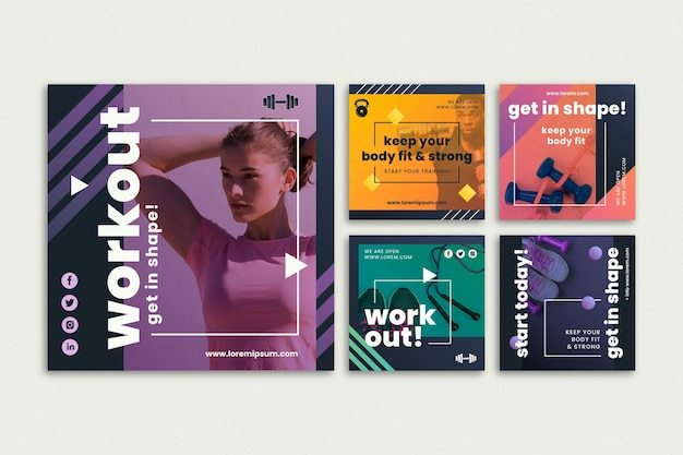 Gradient health and fitness instagram posts collection Free Vector
