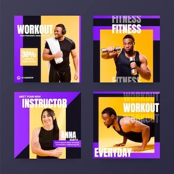 Raccolta di post su instagram con gradiente di salute e fitness