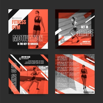 Gradient health and fitness instagram posts collection