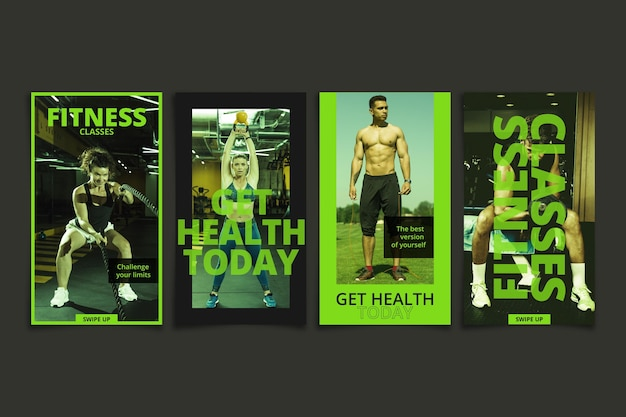 Gradient health and fitness instagram stories collection with photo