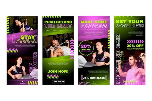 Raccolta di storie di instagram di salute e fitness con gradiente con foto
