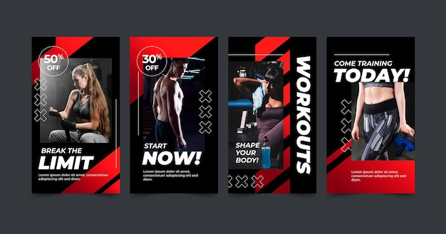 Gradient health and fitness instagram stories collection