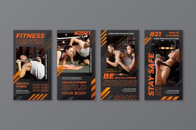 Raccolta di storie di fitness con gradiente di salute con foto