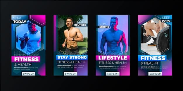 Raccolta di storie di salute e fitness sfumate con foto