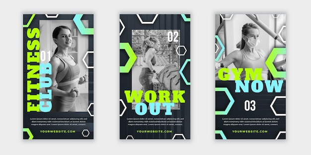 Gradient health & fitness story collection with photo
