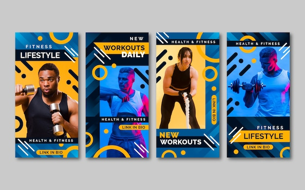 Gradient health and fitness story collection with photo