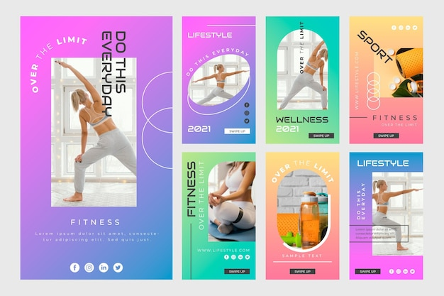 Raccolta di storie di salute e fitness a gradiente