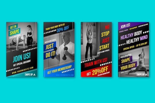 Pacchetto di storie di salute e fitness con gradiente con foto