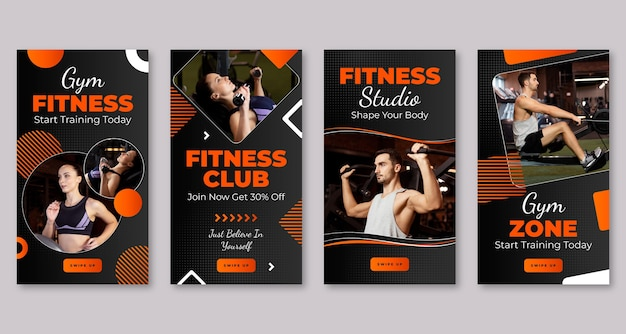 Storia di fitness con gradiente di salute impostata con foto