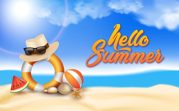 Gradient hello summer illustration