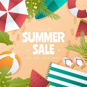 Gradient hello summer sale illustration