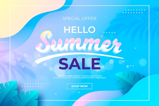 그라디언트 안녕하세요 여름 판매 그림