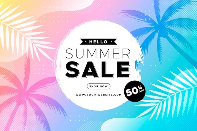 Gradient hello summer sale illustration
