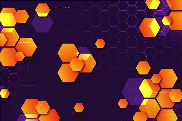Gradient hexagonal background with dots