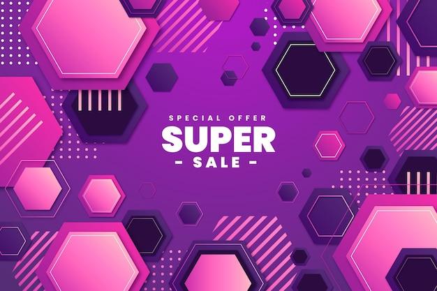 Gradient hexagonal background with super sale