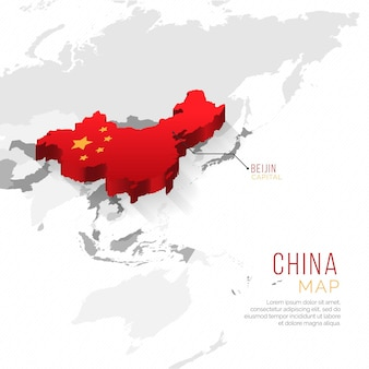 Gradient highlighted china country map infographic