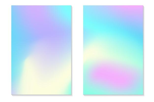 グラデーションホログラムの背景。レトロなスタイルのカラフルなホログラフィックポスターのセットです。鮮やかなネオンパステル調の風合い。チラシ、バナー、モバイル画面のベクトルグラデーションテンプレート。