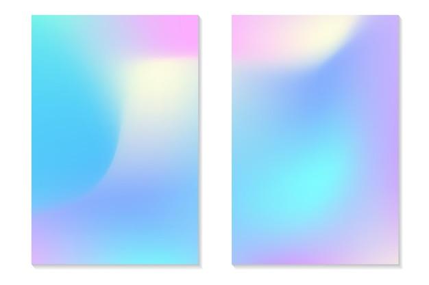 그라데이션 홀로그램 배경입니다. 복고 스타일의 다채로운 홀로그램 포스터 세트입니다. 활기찬 네온 파스텔 텍스처입니다. 전단지, 배너, 모바일 화면에 대한 벡터 그라데이션 템플릿.