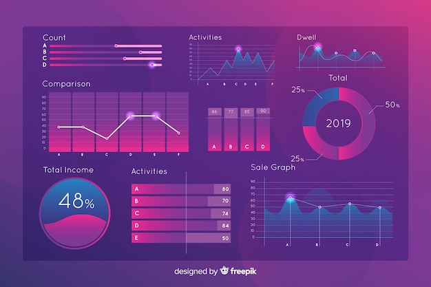 Gradient holographic infographics element collectio