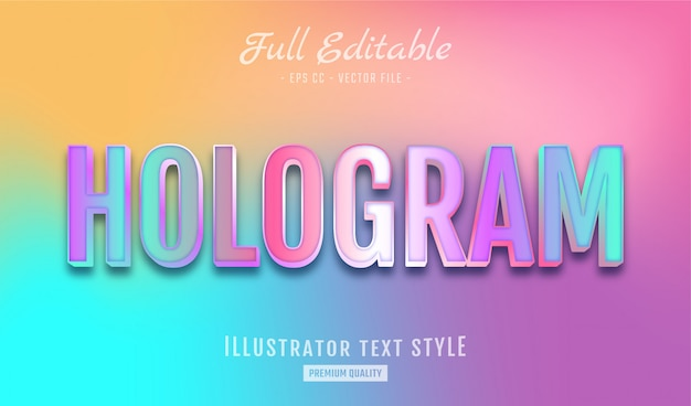 Gradient holographic text style effect premium