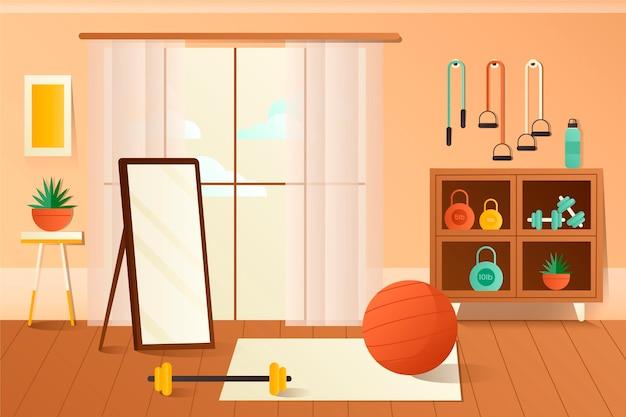 Palestra di casa gradiente illustrata