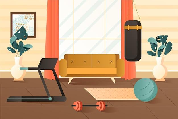 다른 요소와 그라디언트 홈 체육관
