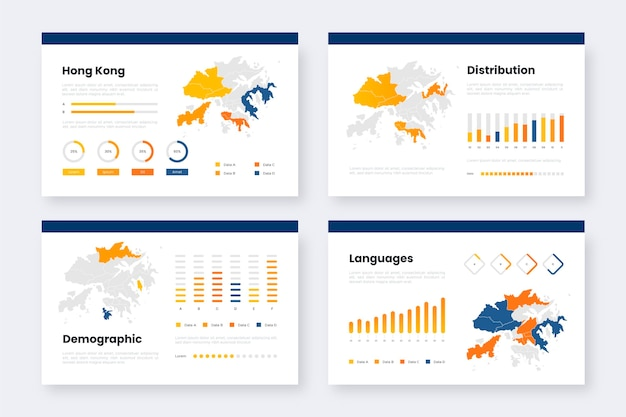 Gradient hong kong map infographics template