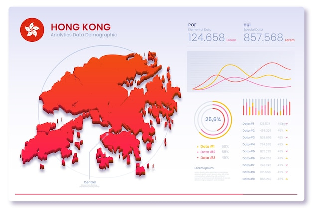 Gradient hong kong map infographics
