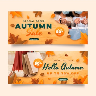 Gradient horizontal autumn sale banners set with photo