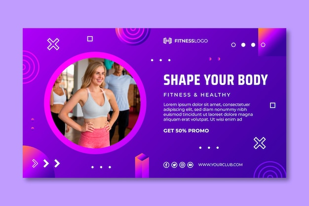 Gradient horizontal banner template for gym training
