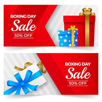 Gradient horizontal boxing day sale banners set