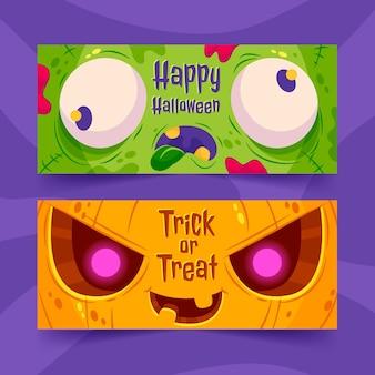 Gradient horizontal halloween banners set