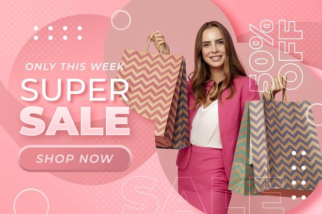 Modello di banner di vendita orizzontale sfumato con foto