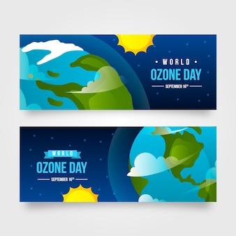 그라데이션 수평 세계 오존의 날 배너 세트