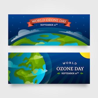 Набор градиентных горизонтальных баннеров всемирного дня озона