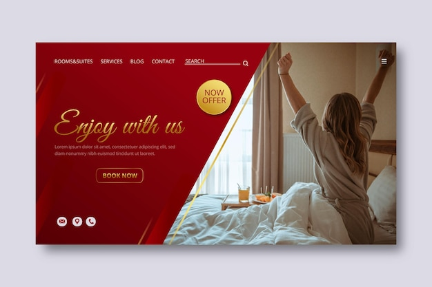Gradient hotel banner template with photo