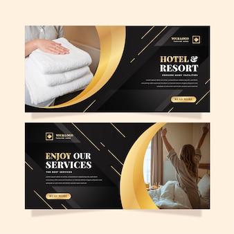 Modello di banner hotel gradiente con foto