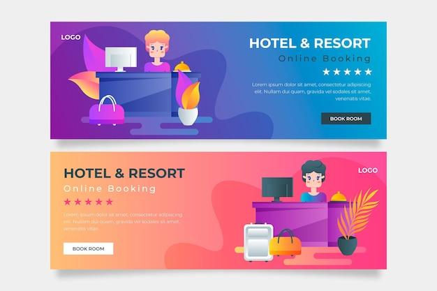 Modello di banner hotel gradiente