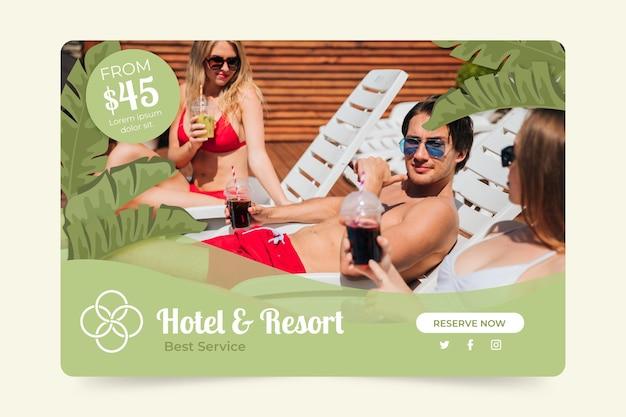 Градиентный баннер отеля с фото