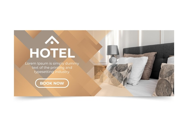 Gradient hotel banner with photo