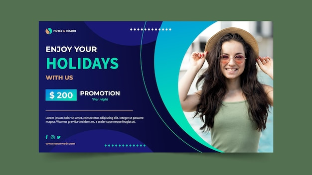Gradient hotel banner with photo Free Vector