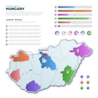 Градиентная инфографика карты венгрии