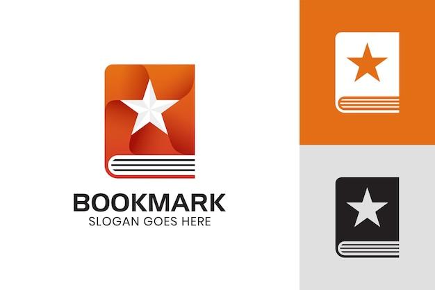 ブックマーク、お気に入りの本、書店のロゴテンプレートの星が付いたグラデーションアイコンブック