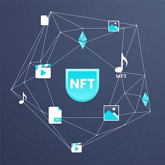 Градиентная иллюстрированная концепция nft