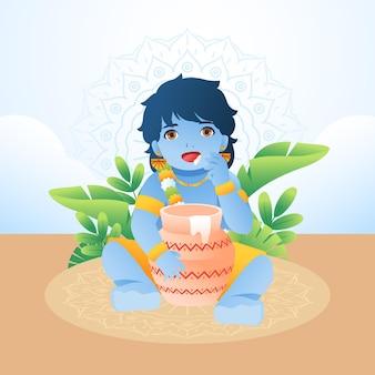 Gradient illustration of baby krishna eating butter