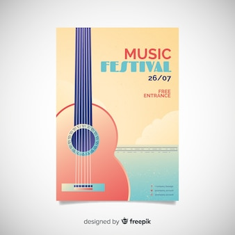 Gradient illustration music festival poster