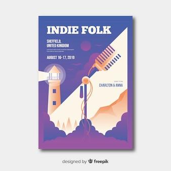 Gradient illustration music festival poster