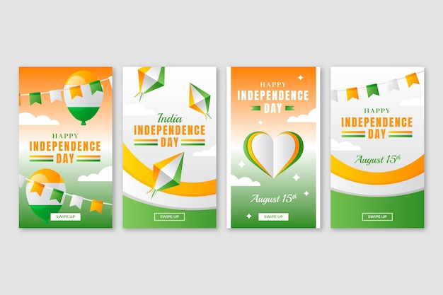 Gradient india independence day instagram stories collection