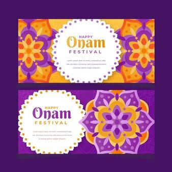 Набор градиентных индийских баннеров onam